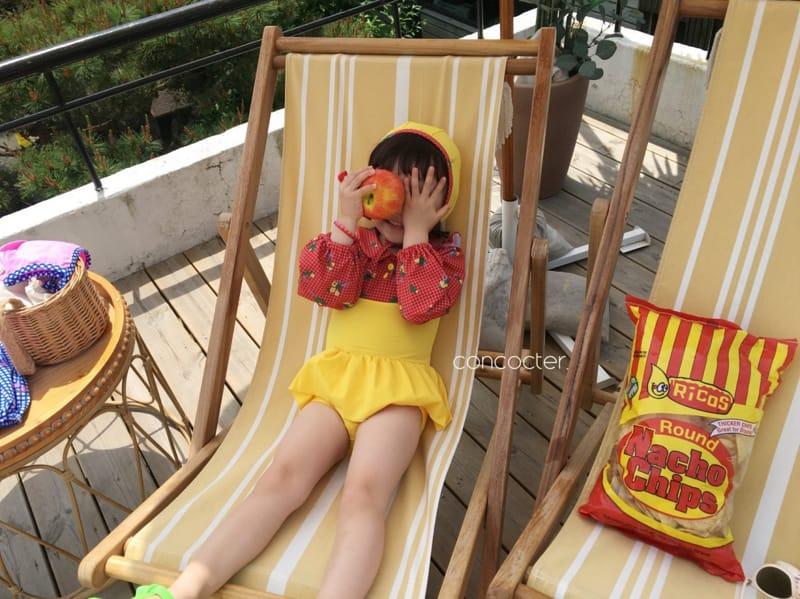 CONCOCTER - Korean Children Fashion - #Kfashion4kids - Bean Button One-piece Swimwear - 6