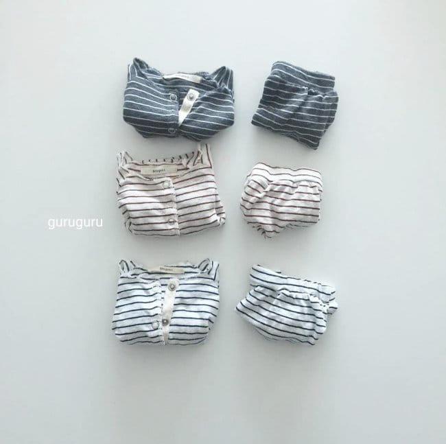 GURU GURU - Korean Children Fashion - #Kfashion4kids - Stripes Top Bottom Set - 5