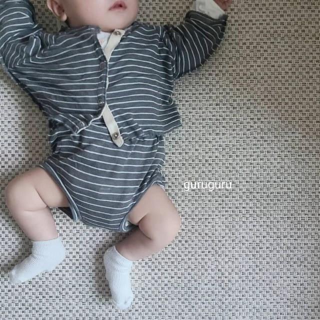 GURU GURU - BRAND - Korean Children Fashion - #Kfashion4kids - Stripes Top Bottom Set