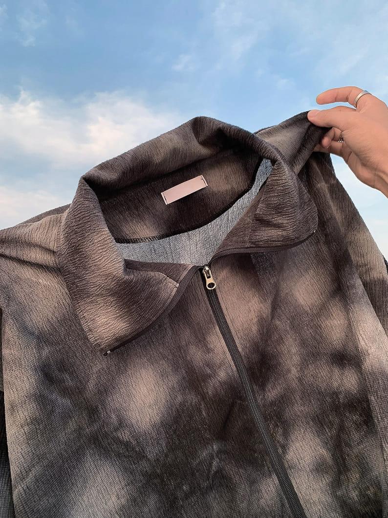 MONE - Korean Children Fashion - #Kfashion4kids - Washing Tie-dye Zip-up