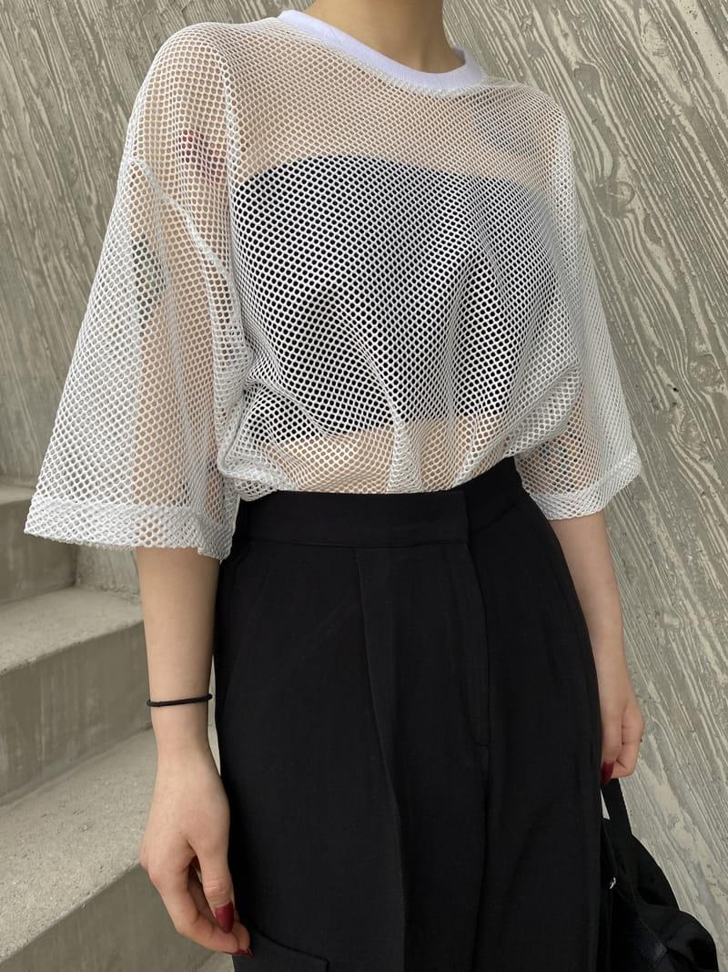 MONE - Korean Children Fashion - #Kfashion4kids - Pipe Mesh Round Short Sleeves Tee