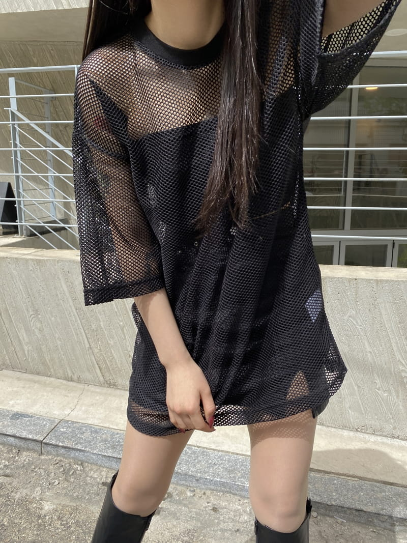 MONE - Korean Children Fashion - #Kfashion4kids - Pipe Mesh Round Short Sleeves Tee - 2