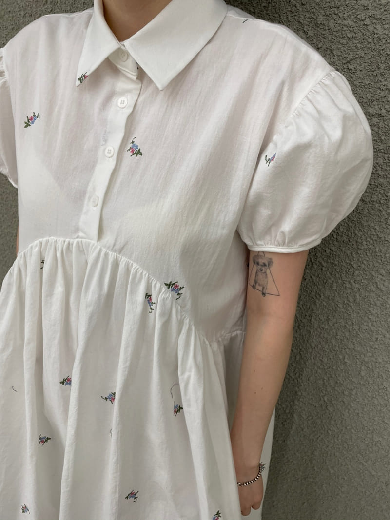 ONDO - Korean Children Fashion - #Kfashion4kids - Flower embroidery One-piece - 4