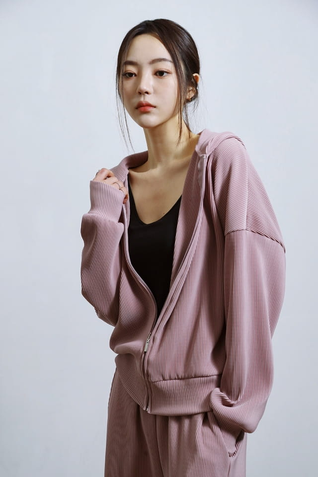 ONDO - BRAND - Korean Children Fashion - #Kfashion4kids - Pleated Hood Zip-Up
