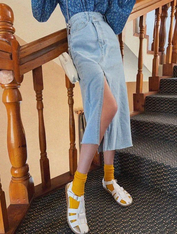 PERMIL - Korean Children Fashion - #Kfashion4kids - Unbalanced Slit Skirt - 4