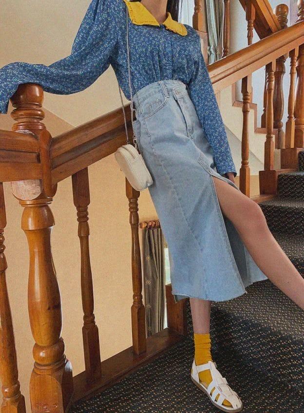 PERMIL - Korean Children Fashion - #Kfashion4kids - Unbalanced Slit Skirt - 5