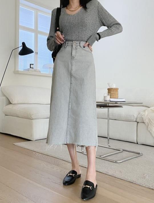PERMIL - Korean Children Fashion - #Kfashion4kids - Back Slit Long Skirt