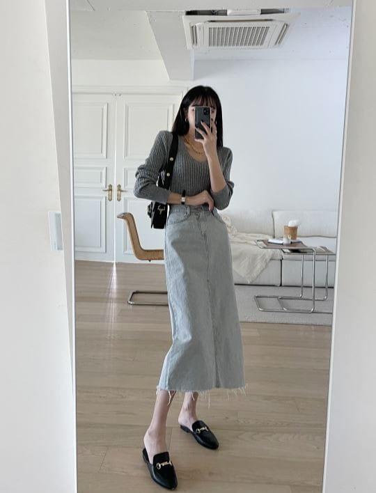 PERMIL - BRAND - Korean Children Fashion - #Kfashion4kids - Back Slit Long Skirt