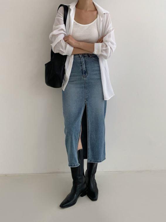 PERMIL - Korean Children Fashion - #Kfashion4kids - Nan Spandex Front Slit Long Skirt