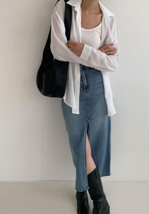 PERMIL - BRAND - Korean Children Fashion - #Kfashion4kids - Nan Spandex Front Slit Long Skirt