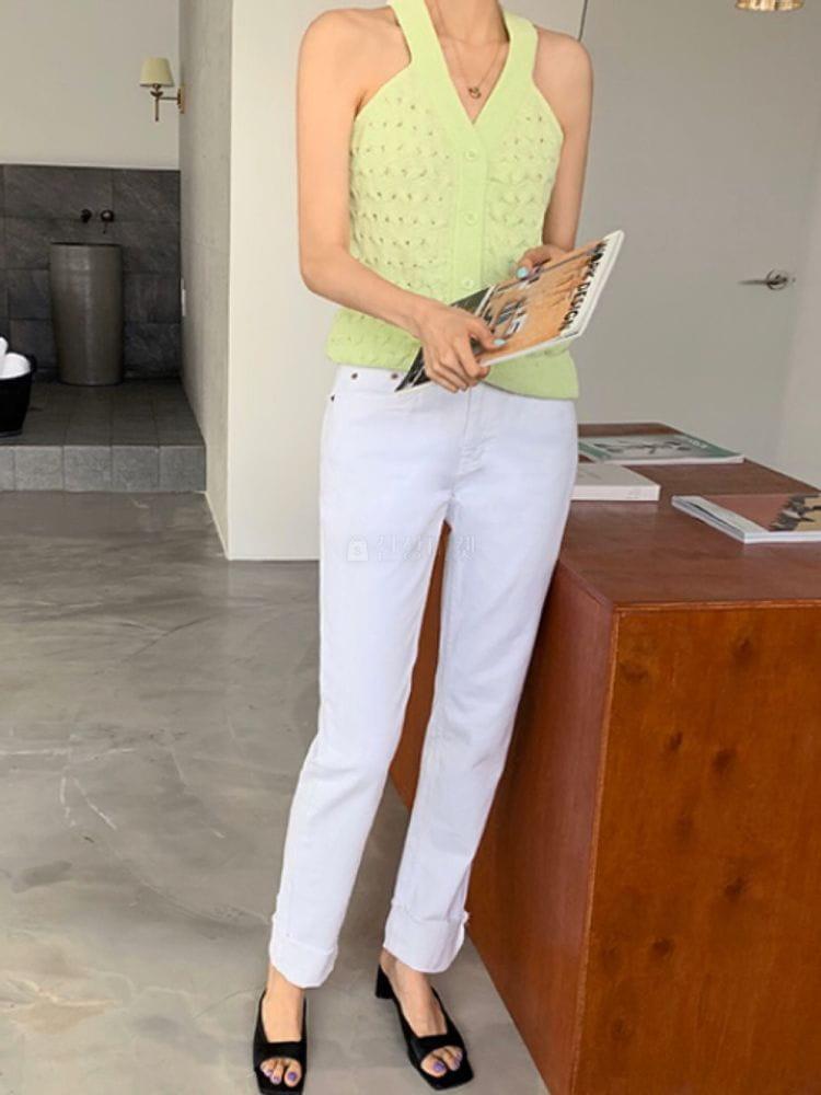 THE SAND - Korean Children Fashion - #Kfashion4kids - White Roll-up Jeans