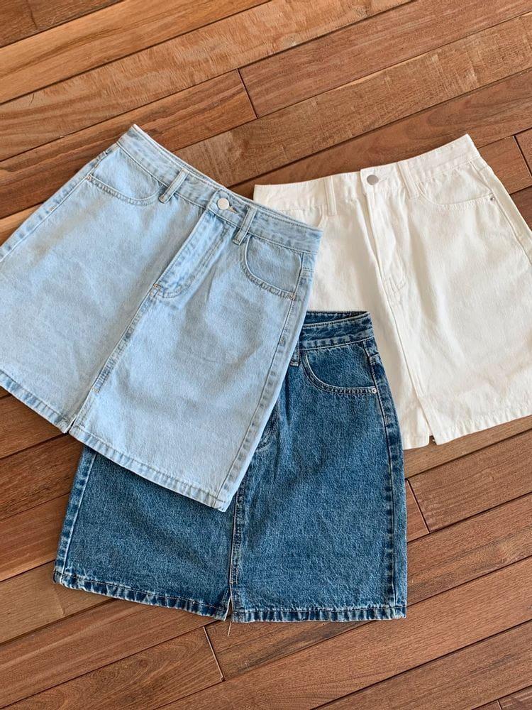 WEARING - Korean Children Fashion - #Kfashion4kids - Denim Shorts Skirt - 2