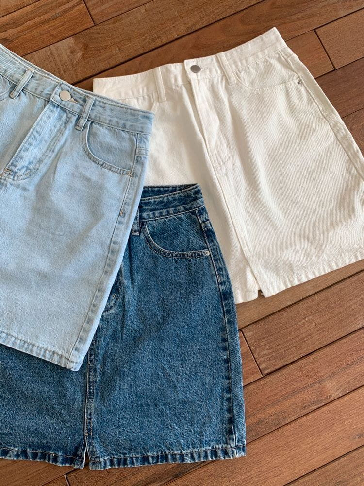 WEARING - Korean Children Fashion - #Kfashion4kids - Denim Shorts Skirt - 4