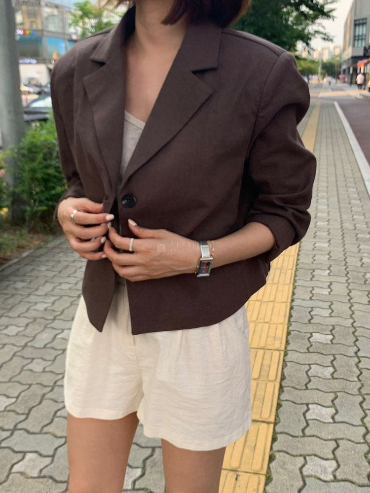 WEARING - Korean Children Fashion - #Kfashion4kids - Heblinen Cropped Jacket - 2