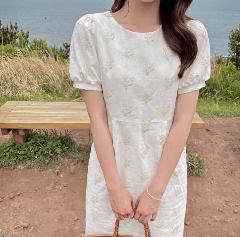 YES I LIKE YOU - BRAND - Korean Children Fashion - #Kfashion4kids - Linen Flower One-piece