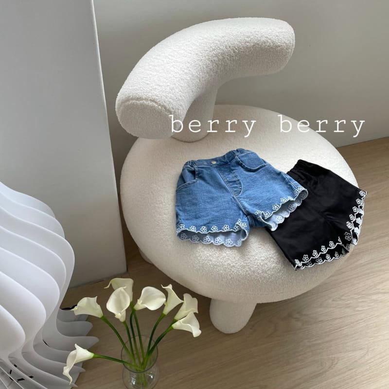 BERRY BERRY - Korean Children Fashion - #Kfashion4kids - Embroidery Denim Shorts - 6