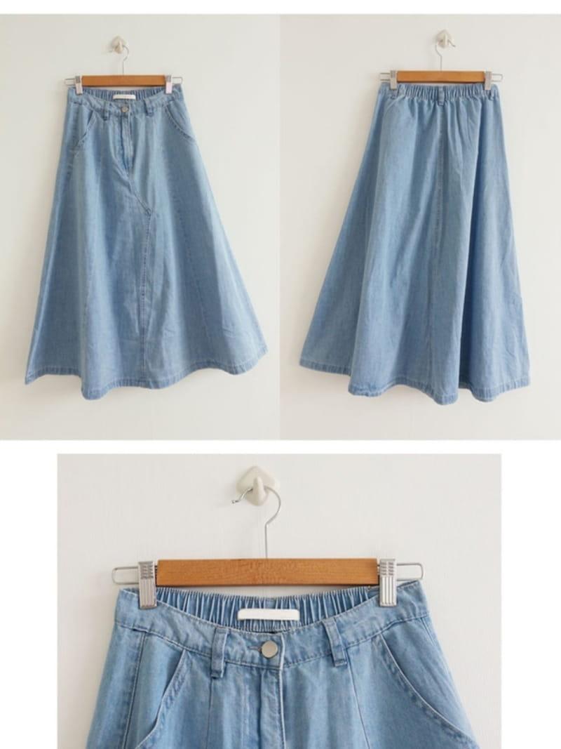 EVERYTHING WITH ME - Korean Children Fashion - #Kfashion4kids - Line Denim Skirt - 4