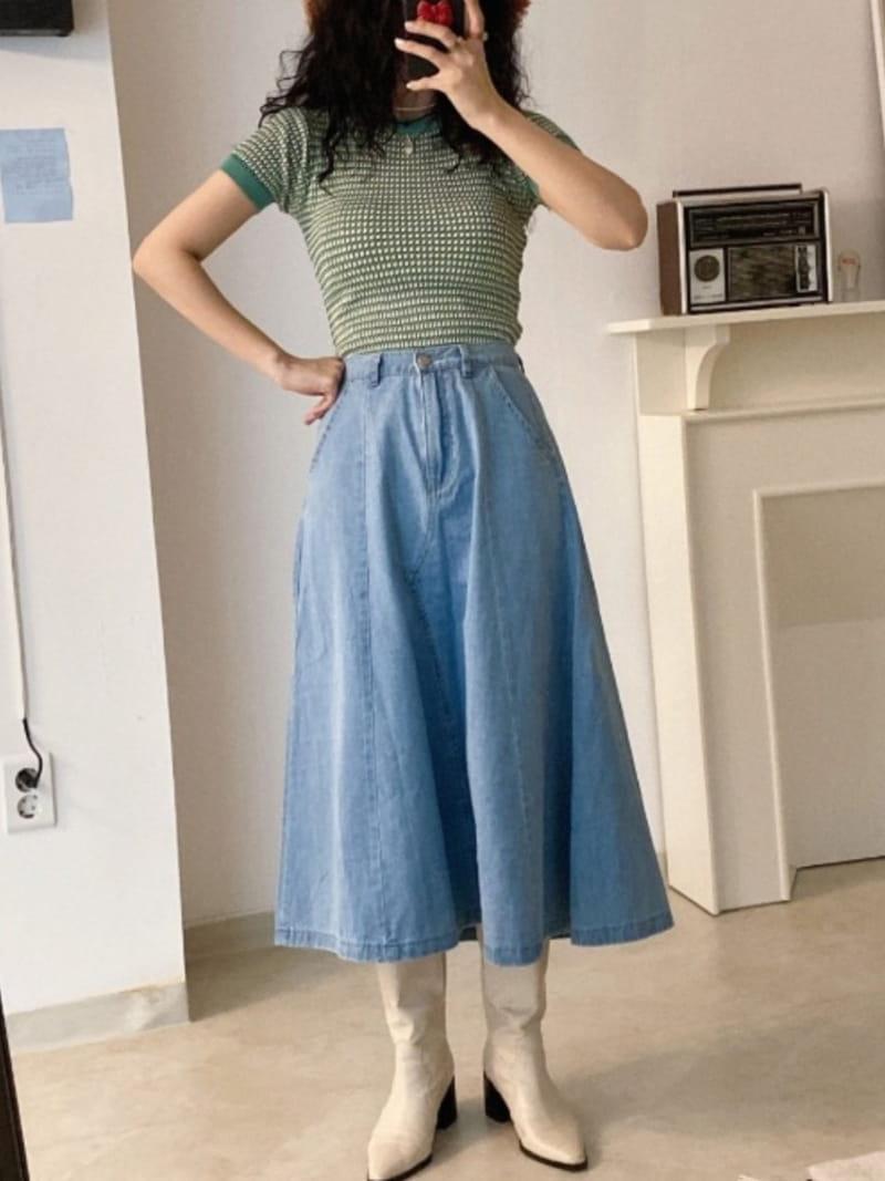 EVERYTHING WITH ME - BRAND - Korean Children Fashion - #Kfashion4kids - Line Denim Skirt