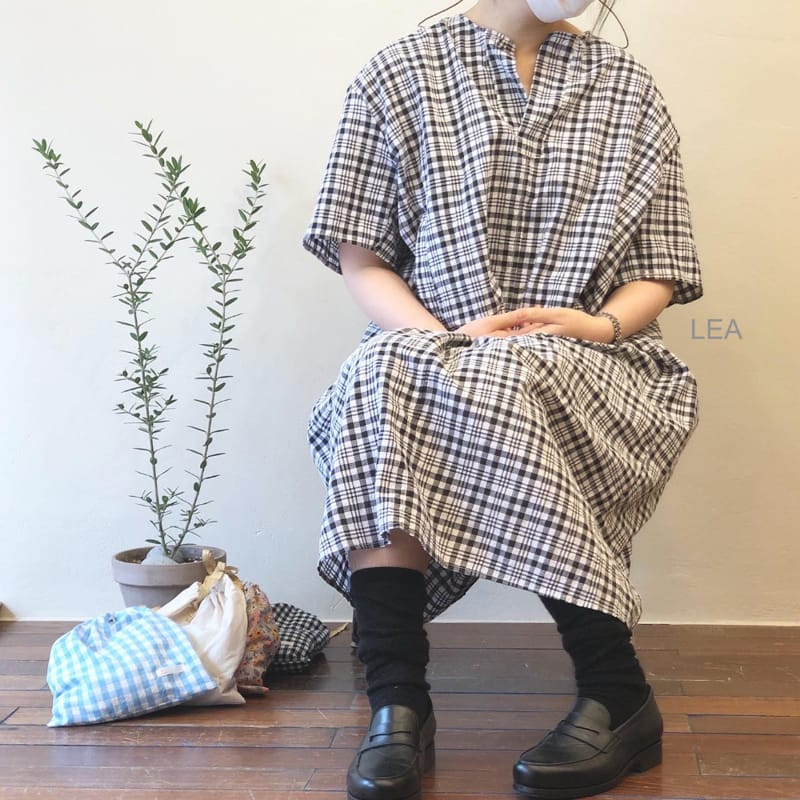 LEA ET MIEL - Korean Children Fashion - #Kfashion4kids - Mom Black Check One-piece