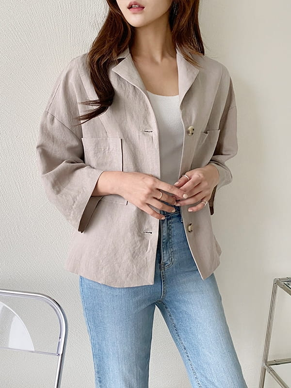 LOUISA - BRAND - Korean Children Fashion - #Kfashion4kids - De An Linen Jacket