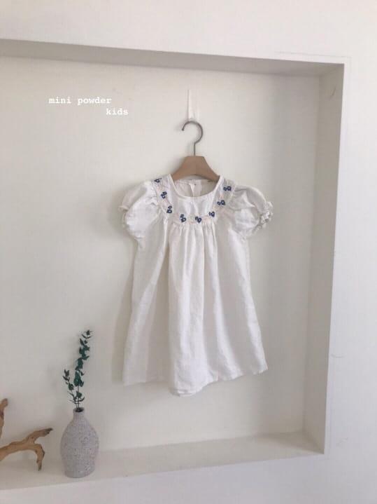 MINI POWDER - Korean Children Fashion - #Kfashion4kids - Linen Embroidery One-piece - 10