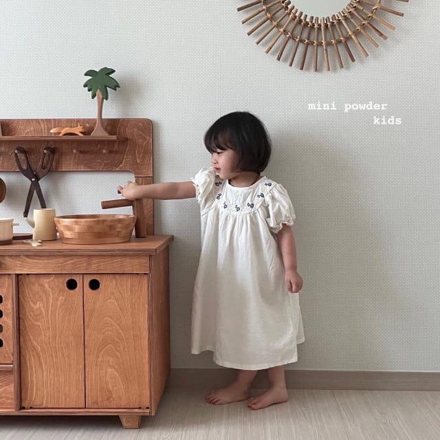 MINI POWDER - Korean Children Fashion - #Kfashion4kids - Linen Embroidery One-piece - 2