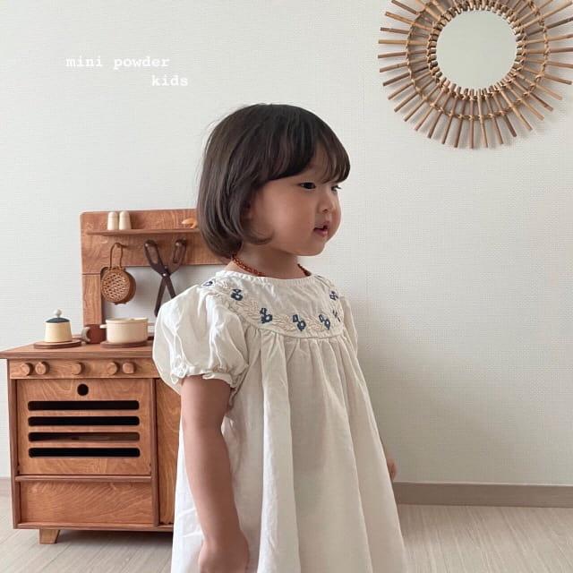 MINI POWDER - Korean Children Fashion - #Kfashion4kids - Linen Embroidery One-piece - 3