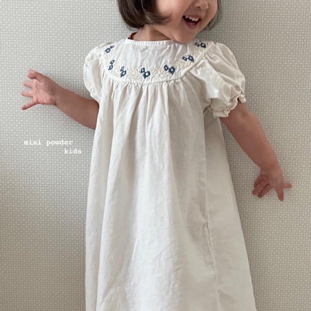 MINI POWDER - Korean Children Fashion - #Kfashion4kids - Linen Embroidery One-piece - 4