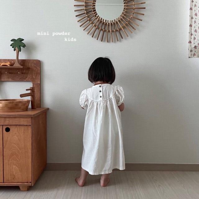 MINI POWDER - Korean Children Fashion - #Kfashion4kids - Linen Embroidery One-piece - 5