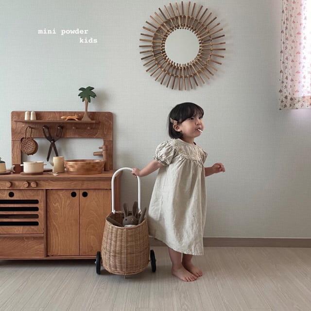 MINI POWDER - Korean Children Fashion - #Kfashion4kids - Linen Embroidery One-piece - 6
