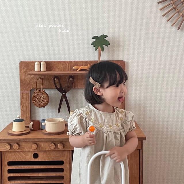 MINI POWDER - Korean Children Fashion - #Kfashion4kids - Linen Embroidery One-piece - 7