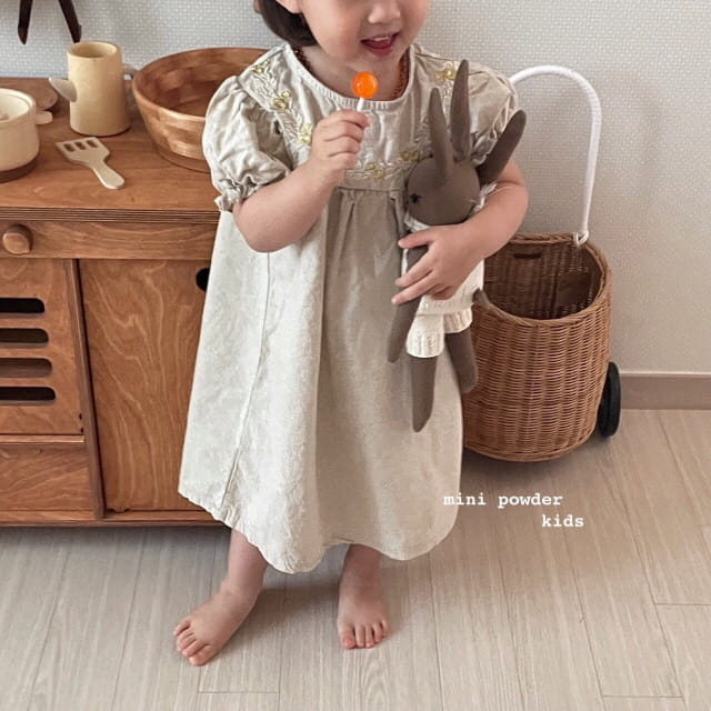 MINI POWDER - Korean Children Fashion - #Kfashion4kids - Linen Embroidery One-piece - 8
