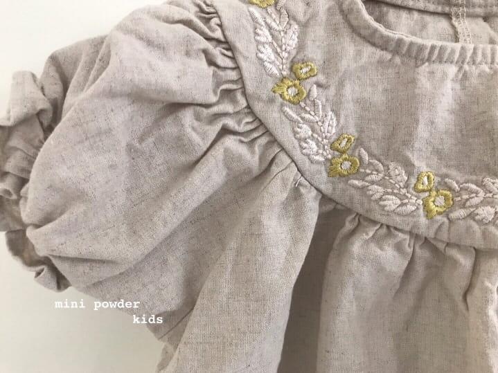 MINI POWDER - Korean Children Fashion - #Kfashion4kids - Linen Embroidery One-piece - 9