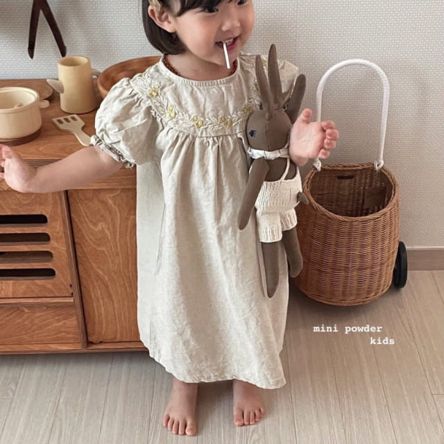 MINI POWDER - BRAND - Korean Children Fashion - #Kfashion4kids - Linen Embroidery One-piece