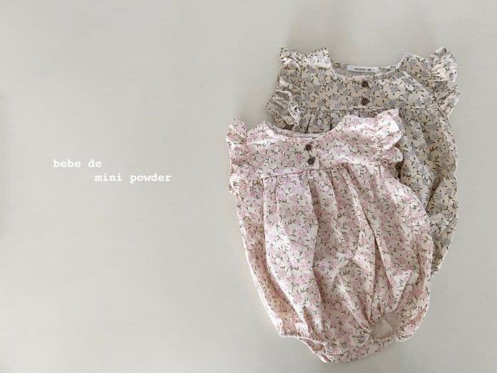 MINI POWDER - Korean Children Fashion - #Kfashion4kids - Linen Flower Bodysuit