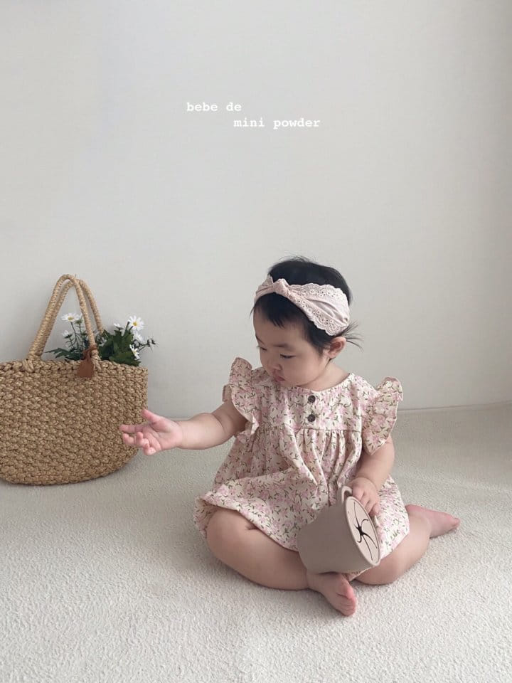 MINI POWDER - Korean Children Fashion - #Kfashion4kids - Linen Flower Bodysuit - 12