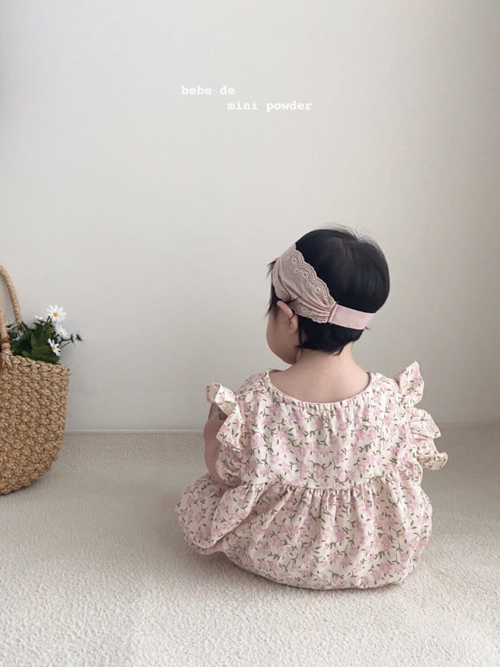 MINI POWDER - Korean Children Fashion - #Kfashion4kids - Linen Flower Bodysuit - 5