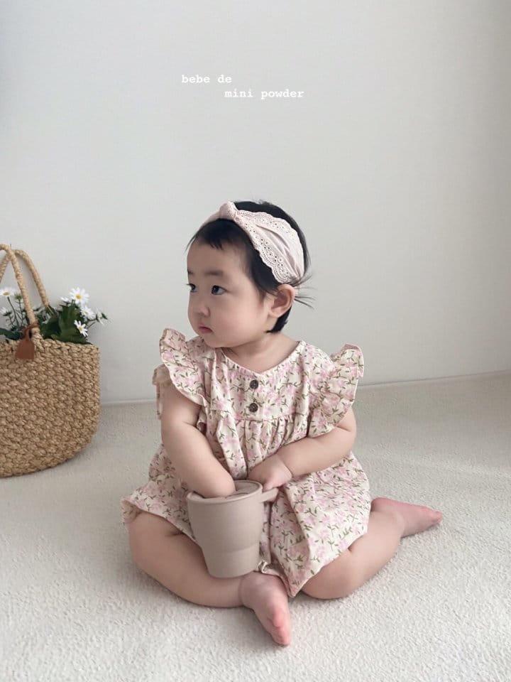 MINI POWDER - Korean Children Fashion - #Kfashion4kids - Linen Flower Bodysuit - 6