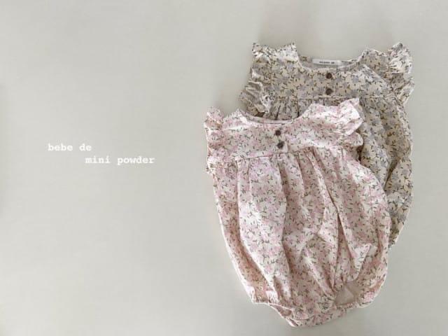MINI POWDER - BRAND - Korean Children Fashion - #Kfashion4kids - Linen Flower Bodysuit