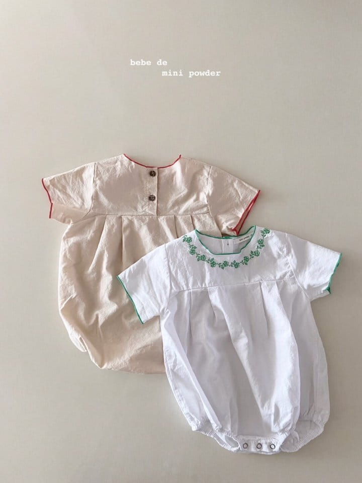 MINI POWDER - Korean Children Fashion - #Kfashion4kids - Summer Embroidery Bodysuit - 2