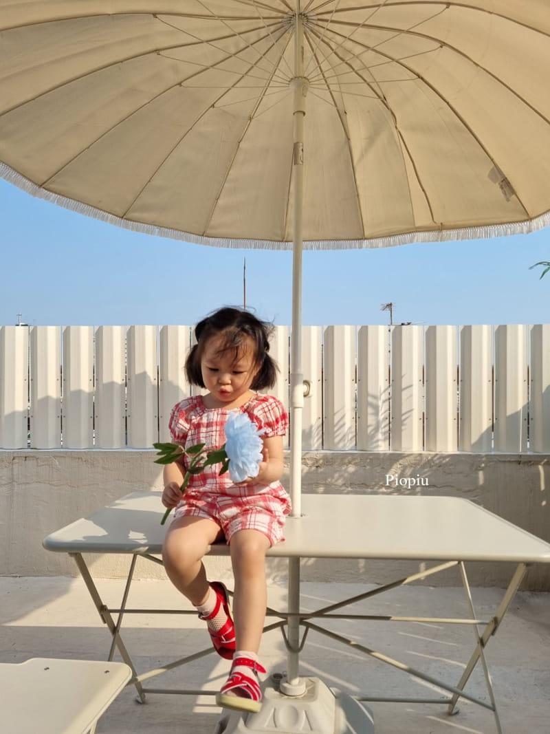 PIOPIU - Korean Children Fashion - #Kfashion4kids - Summer Check Top Bottom Set - 10