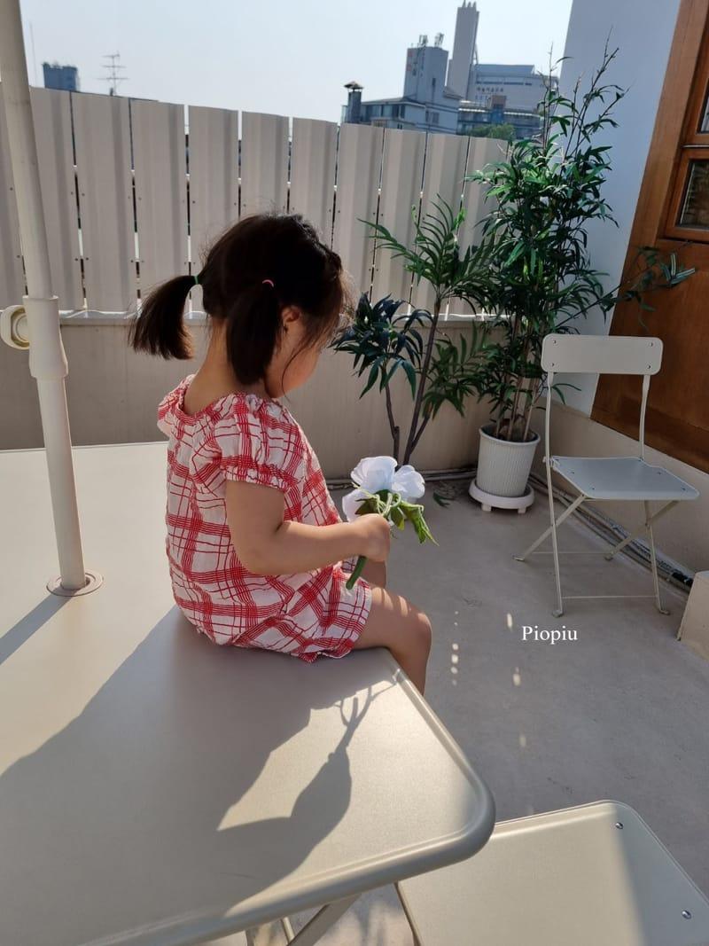PIOPIU - Korean Children Fashion - #Kfashion4kids - Summer Check Top Bottom Set - 11