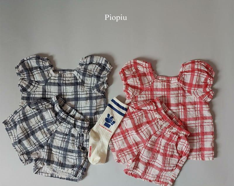 PIOPIU - Korean Children Fashion - #Kfashion4kids - Summer Check Top Bottom Set - 2