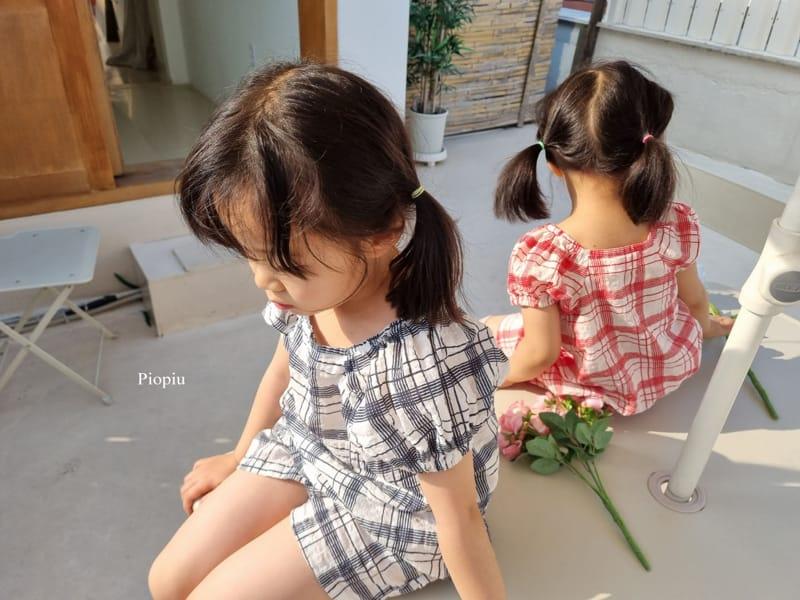 PIOPIU - Korean Children Fashion - #Kfashion4kids - Summer Check Top Bottom Set - 3