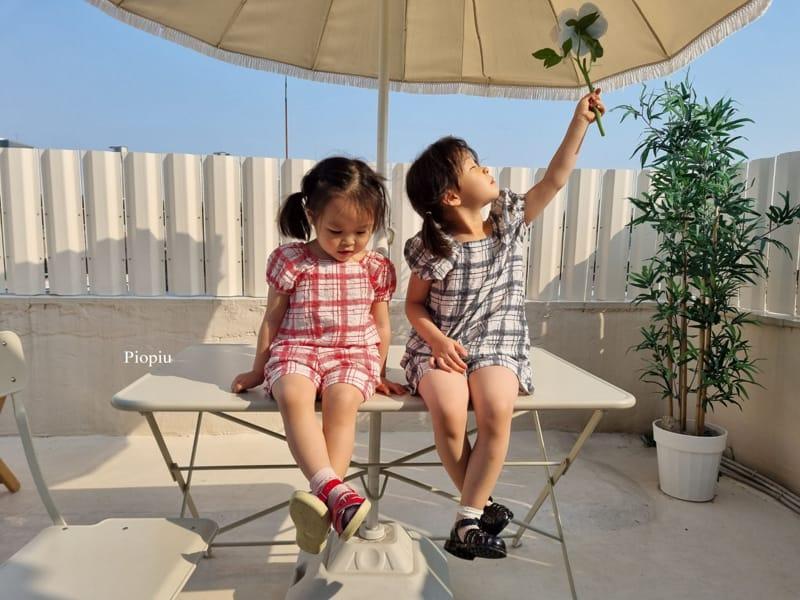 PIOPIU - Korean Children Fashion - #Kfashion4kids - Summer Check Top Bottom Set - 4