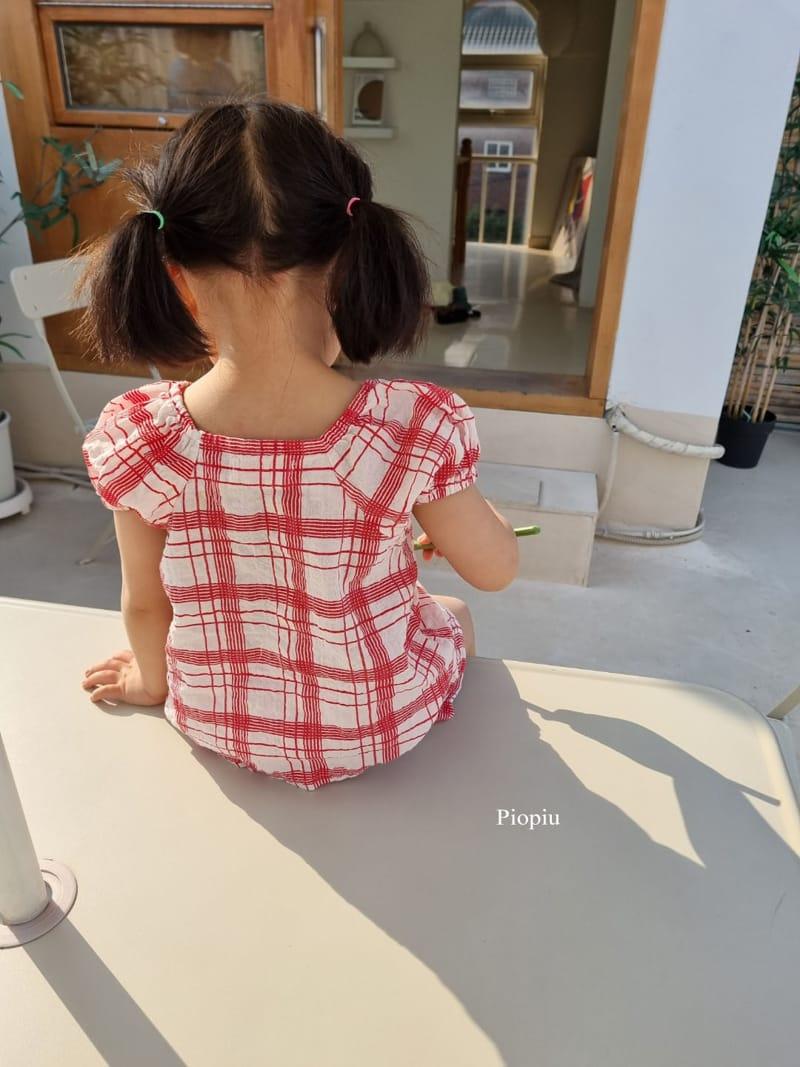 PIOPIU - Korean Children Fashion - #Kfashion4kids - Summer Check Top Bottom Set - 5