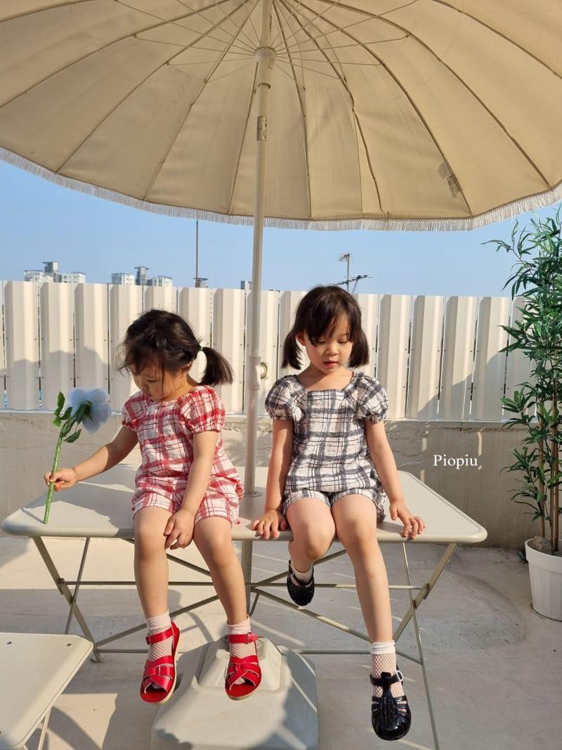 PIOPIU - Korean Children Fashion - #Kfashion4kids - Summer Check Top Bottom Set - 6