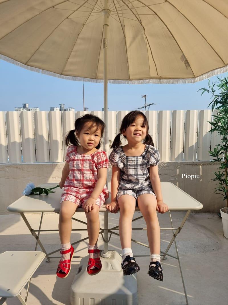 PIOPIU - Korean Children Fashion - #Kfashion4kids - Summer Check Top Bottom Set - 7