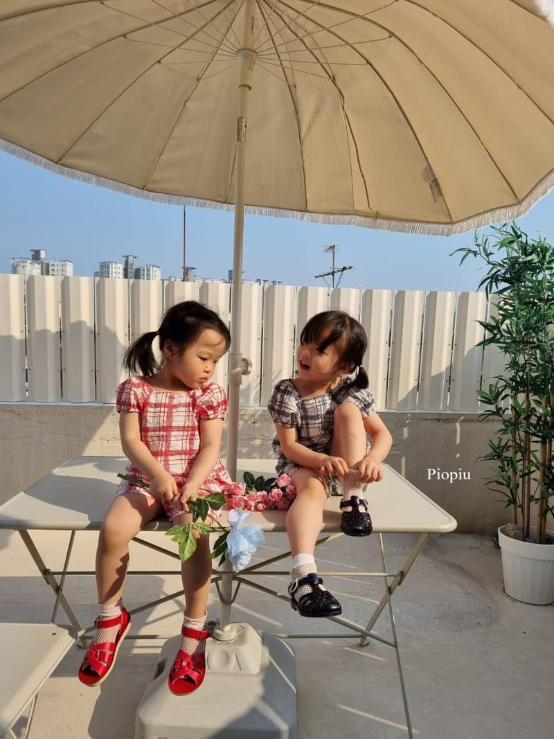 PIOPIU - Korean Children Fashion - #Kfashion4kids - Summer Check Top Bottom Set - 8