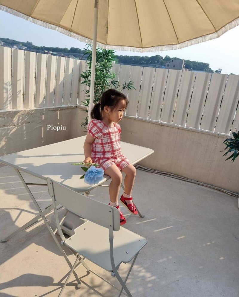 PIOPIU - Korean Children Fashion - #Kfashion4kids - Summer Check Top Bottom Set - 9